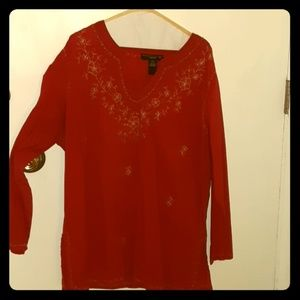 Venizia Indian-style RED tunic w/ gold embroidery